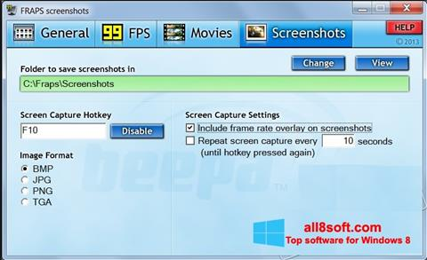 Screenshot Fraps für Windows 8