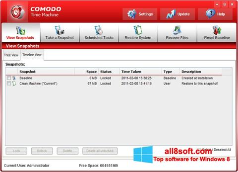 Screenshot Comodo Time Machine für Windows 8
