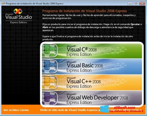 Screenshot Microsoft Visual Studio für Windows 8